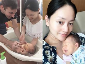 Lan Phương hạnh phúc chia sẻ khoảnh khắc cùng chồng Tây tắm cho con gái mới sinh