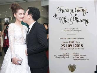 Lộ thiệp cưới kèm ngày giờ chính thức hôn lễ của Nhã Phương - Trường Giang?