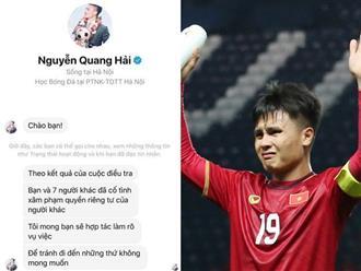 Lộ tin nhắn được cho là đích danh Quang Hải gửi đến nhóm hacker, ngầm thông báo đã tìm ra thủ phạm hack tài khoản Facebook của chàng cầu thủ trẻ?