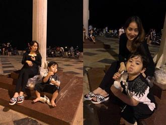 Mang thai ở tháng thứ 8, Khánh Thi không ngại vác bụng bầu to tướng đi ăn vỉa hè cùng chồng con