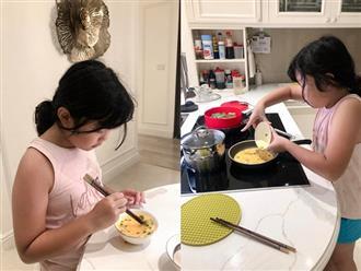 Mới 8 tuổi, con gái MC Diệp Chi đã trổ tài vào bếp nấu ăn cực khéo