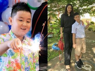 Mới học hết lớp 2, con trai Lê Phương đã cao gần bằng mẹ, điển trai như tài tử Hàn Quốc