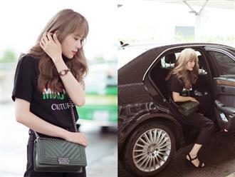 """Nam Em diện set đồ 200 triệu ra sân bay, bị nhầm là gái Hàn vì tóc """"phát sáng"""""""