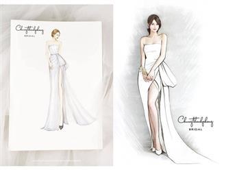 Ngày cưới gần kề, lộ diện bản phác thảo váy cưới đầu tiên của Nhã Phương