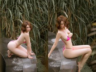 Mặc bikini bé tí tẹo có như không, Ngọc Trinh tạo dáng phản cảm khiến dân tình 'ngượng chín mặt'