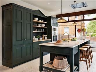 Những gam xanh tối màu tuyệt đẹp cho căn bếp hiện đại: Sạch, nổi bật và sang trọng khi kết hợp khéo léo với gam màu trắng và ánh sáng đèn trang trí