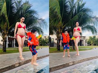 Ở tháng thứ 8 của thai kỳ, Khánh Thi khiến dân tình đỏ mặt khi diện bikini 2 mảnh khoe bụng bầu to tướng