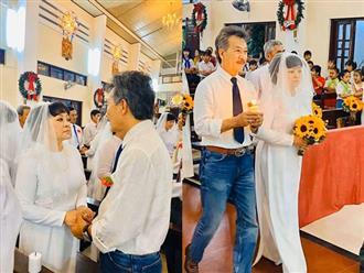 Ở tuổi 64, Hương Lan hạnh phúc nắm tay ông xã vào lễ đường 'cưới lần nữa'