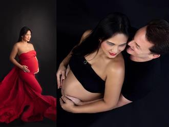 Sắp sinh, vợ mới của chồng cũ Hồng Nhung khoe bụng bầu 'to đùng' được chồng ôm ấp thân mật