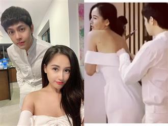 """Sau màn """"thả thính"""" cực ngọt, Noo Phước Thịnh khiến netizen bấn loạn với hành động cẩn thận gài áo cho Mai Phương Thúy"""