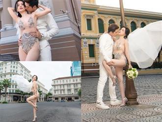 Sĩ Thanh bị 'ném đá' tơi tả khi diện váy cưới như bikini, tạo dáng sexy phản cảm giữa phố