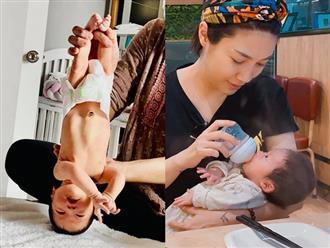 Giật mình với hình ảnh con gái 5 ngày tuổi của Pha Lê bị cầm chân dốc ngược lên trời