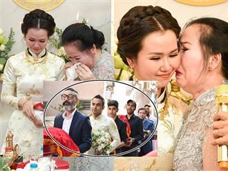 Tiễn con gái theo chồng Ấn Độ, mẹ Võ Hạ Trâm khóc nức nở trước mặt họ nhà trai
