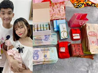 Quà đầy tháng 'khủng' của con gái Mạc Văn Khoa, nhiều vòng vàng và hơn 250 triệu đồng