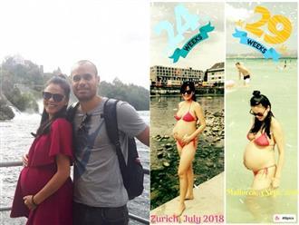 Xuân Thùy 'Cô gái xấu xí' diện bikini khoe bụng bầu vượt mặt sau 4 năm kết hôn với chồng Tây