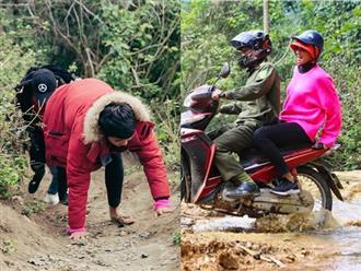 Xúc động hình ảnh H'Hen Niê trèo đèo, lội suối đến với người nghèo vùng Tây Bắc ngày giáp Tết