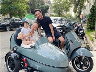 Cường Đô La 'bá đạo' khi chở vợ con đi dạo bằng 'siêu xe' 3 bánh