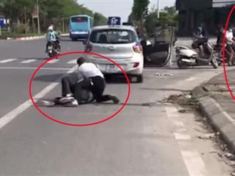 Vụ tài xế taxi bị đâm gục ở Hà Nội: Đại úy công an đứng gọi điện thoại giải trình gì?