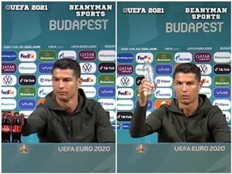 'Gắt' như Ronaldo, đi họp báo vẫn không quên ăn uống lành mạnh, 'gạt phăng' nước có gas khiến nhà tài trợ 'khóc thét'