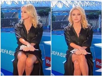 Vắt chéo chân ngẫu hứng, nữ MC Euro Cup vô tình để lộ phút hớ hênh 'bỏng mắt' khán giả vì 'không diện nội y'