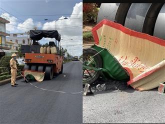Nữ công nhân làm đường gặp tai nạn giao thông, thi thể kẹt dưới bánh xe lu