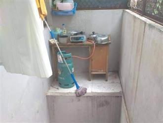 Căn bếp khiến tất cả hoang mang bởi tìm mỏi mắt cũng không thấy bậc thang để bước lên