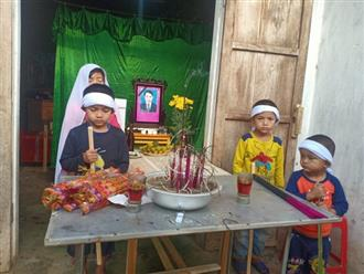 Xót cảnh 4 đứa con ngơ ngác bên bàn thờ người cha chết đuối thương tâm trong lúc đi mò cua ngày cận Tết