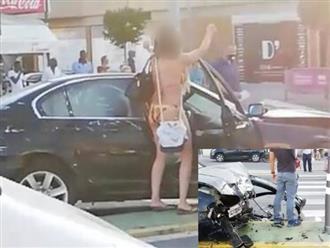 Clip người phụ nữ mặc bikini lái ô tô gây tai nạn rồi xuống xe nhảy múa gây bức xúc