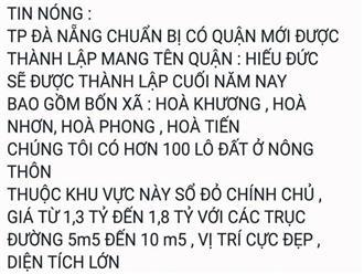 Cò đất lại giở trò, tung tin Đà Nẵng chia tách huyện Hòa Vang để thổi giá