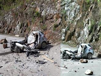 Clip đá tảng rơi trúng ô tô, tài xế chết thảm gần cầu Hang Tôm