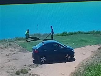 Truy tìm hai thanh niên đi xế hộp cắt trộm cỏ nhân tạo