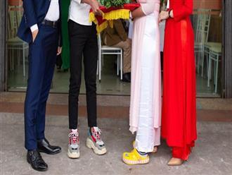 Bức ảnh gây tranh cãi nhất ngày: Cặp đôi bê tráp và 2 đôi giày 'lạ', thoải mái hay kém duyên?