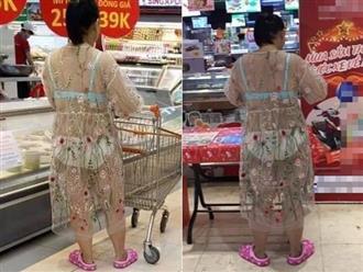 Hoảng hồn với chiếc váy mỏng tang lộ nội y của vị khách nữ trong siêu thị