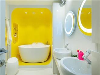 Những căn phòng tắm với sắc vàng tươi khiến bạn thấy sảng khoái ngay khi vừa bước vào