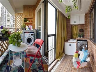 Tận dụng ban công làm nơi vừa thư giãn vừa để máy giặt, giải pháp siêu hay cho những người ở nhà chung cư