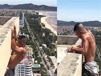 Nghệ An: Thanh niên liều lĩnh bám bờ tường tòa nhà cao tầng để... tập luyện nhận nhiều ý kiến trái chiều trên MXH