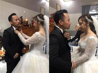 Vợ 9X tình tứ chăm sóc Tiến Đạt tại lễ cưới, lộ vòng 2 to bất thường