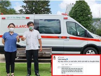 Bị nói 'trù ẻo' khi tặng xe cứu thương, Việt Hương đáp trả: 'Xe cứu thương, xe chở hòm, xe chở xác, đúng việc là mua à, chửi cũng làm tiếp!'
