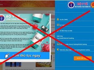 Bộ Y tế cảnh báo 2 trang web giả mạo thông tin chào mời tiêm vaccine covid-19 hòng chiếm đoạt tài sản