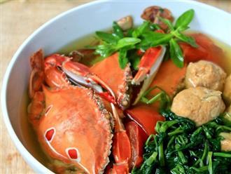 Cách làm canh ghẹ rau muống mang hương vị biển khơi vào bữa cơm gia đình