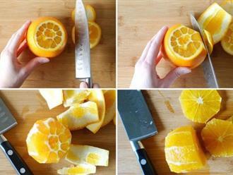 Lâu nay chúng ta đã tốn quá nhiều thời gian vào việc cắt gọt trái cây mà không biết những mẹo chỉ 3 giây là xong như thế này
