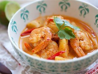 Tôm nấu cà ri kiểu Thái cho bữa cơm đổi vị