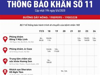Bộ Y tế thông báo khẩn: Tìm người từng đến 4 địa điểm ở Hà Nội liên quan đến bệnh nhân 183