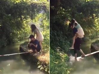 Clip 'soái ca' ga lăng cõng bạn gái qua cầu và cái kết không thể nhịn cười