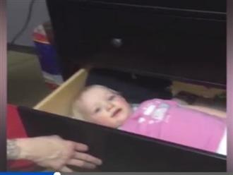 Buồn cười ông bố chơi trò trốn tìm với con bằng ngăn kéo