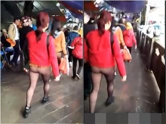 Lồ lộ vòng 3 sau lớp quần tất khi đi lễ chùa Hương, người phụ nữ nhận về mưa 'gạch đá'