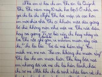 Bài văn tả chị gái cùng pha 'bẻ lái' bất ngờ của nam sinh lớp 2 khiến người đọc cười ngất