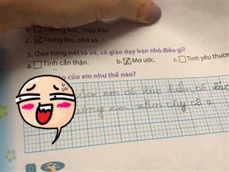 Được hỏi 'cô giáo của em như thế nào?', bé gái trả lời thật thà khiến cô muốn té xỉu, vội sửa lại đáp án