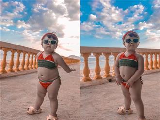 Bé gái diện bikini dưa hấu khoe thân hình ú nu khiến dân mạng phát sốt: '3 vòng như một mà vẫn quyến rũ quá thể'