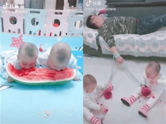 Trông hai con sinh đôi nghịch như giặc, ông bố trẻ nghĩ ra đủ chiêu trò cười ra nước mắt